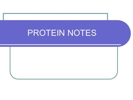 PROTEIN NOTES.
