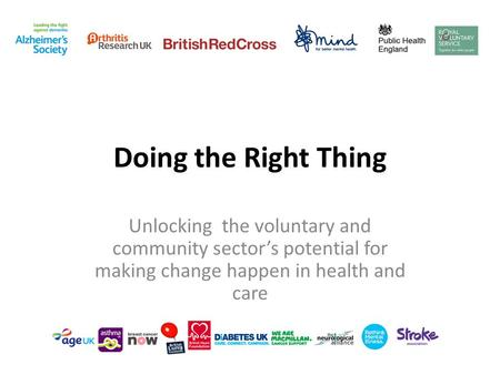 Doing the Right Thing Unlocking the voluntary and community sector's potential for making change happen in health and care.