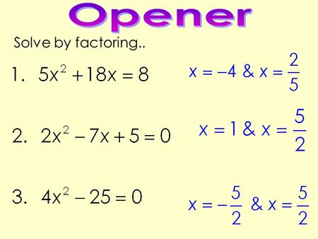 Solve by factoring... GSE Algebra I Today's Question: When does a quadratic have an imaginary solution? Standard: MCC9-12..A.REI.4b.