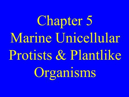 Chapter 5 Marine Unicellular Protists & Plantlike Organisms.