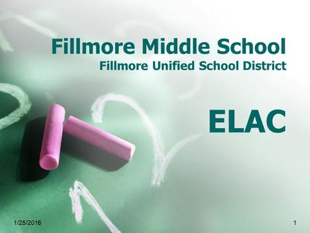 1/25/20161 Fillmore Middle School Fillmore Unified School District ELAC.
