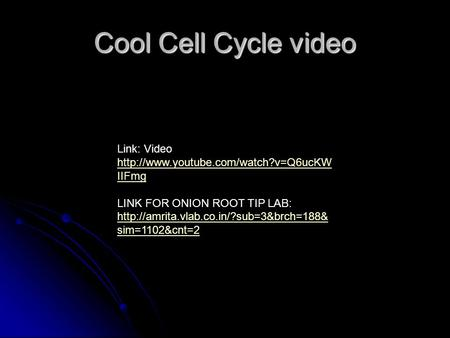 Cool Cell Cycle video Link: Video  IIFmg  IIFmg LINK FOR ONION ROOT TIP LAB:
