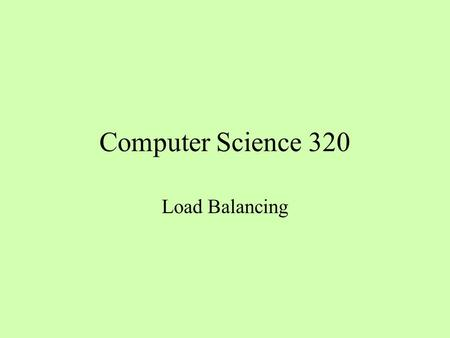 Computer Science 320 Load Balancing. Behavior of Parallel Program Why do 3 threads take longer than two?