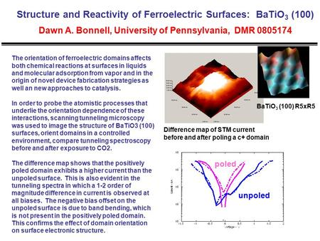 Structure and Reactivity of Ferroelectric Surfaces: BaTiO 3 (100) Dawn A. Bonnell, University of Pennsylvania, DMR 0805174 The orientation of ferroelectric.