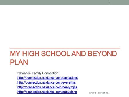 MY HIGH SCHOOL AND BEYOND PLAN Naviance Family Connection