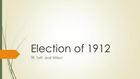 Election of 1912 TR, Taft, and Wilson. Today's Objective  After today's lesson, students will be able to…  Describe the achievements and beliefs of.