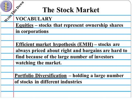 Write This Down The Stock Market VOCABULARY Equities – stocks that represent ownership shares in corporations Efficient market hypothesis (EMH) – stocks.