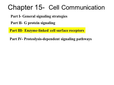 Chapter 15- Cell Communication Part I- General signaling strategies