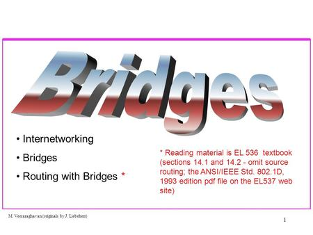 M. Veeraraghavan (originals by J. Liebeherr) 1 Internetworking Bridges Routing with Bridges * * Reading material is EL 536 textbook (sections 14.1 and.