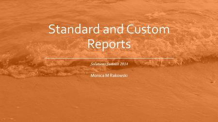 Solutions Summit 2014 Standard and Custom Reports Monica M Rakowski.