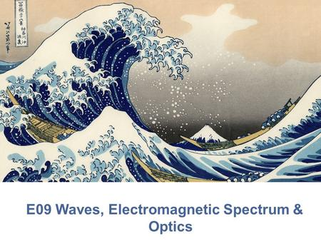 E09 Waves, Electromagnetic Spectrum & Optics. Mechanical Waves A disturbance that transfers energy from place to place Medium- material that a wave travels.
