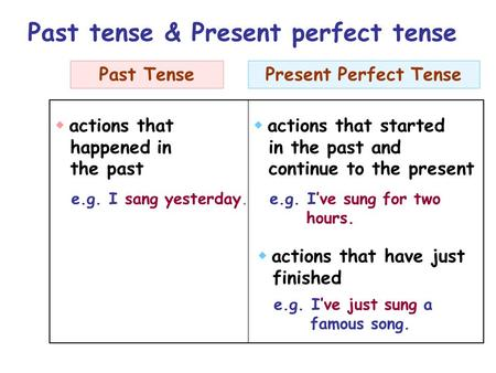  actions that happened in the past  actions that started in the past and continue to the present  actions that have just finished e.g. I sang yesterday.e.g.