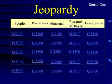 Jeopardy People Research Methods Abnormal PerspectivesDevelopmental Q $100 Q $200 Q $300 Q $400 Q $500 Q $100 Q $200 Q $300 Q $400 Q $500 Round One.