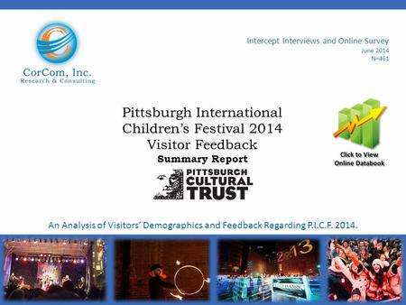 Pittsburgh International Children's Festival 2014 Visitor Feedback Summary Report Intercept Interviews and Online Survey June 2014 N=461 An Analysis of.