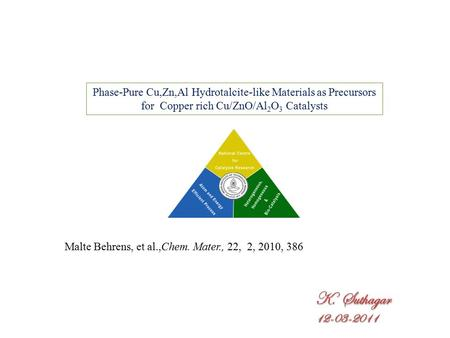 Phase-Pure Cu,Zn,Al Hydrotalcite-like Materials as Precursors for Copper rich Cu/ZnO/Al 2 O 3 Catalysts Malte Behrens, et al.,Chem. Mater., 22, 2, 2010,