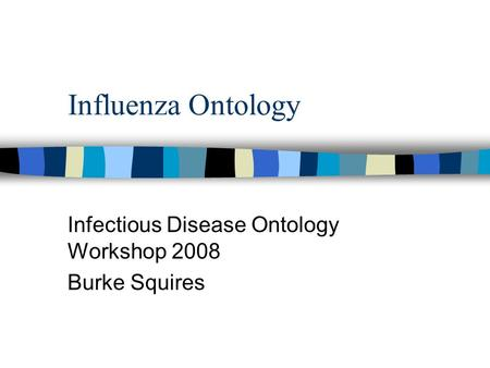 Influenza Ontology Infectious Disease Ontology Workshop 2008 Burke Squires.