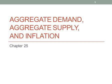 AGGREGATE DEMAND, AGGREGATE SUPPLY, AND INFLATION Chapter 25 1.