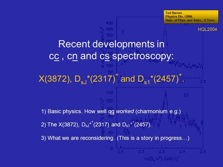 Recent developments in cc, cn and cs spectroscopy: X(3872), D sJ *(2317) + and D s1 *(2457) +. 1) Basic physics. How well qq worked (charmonium e.g.) 2)