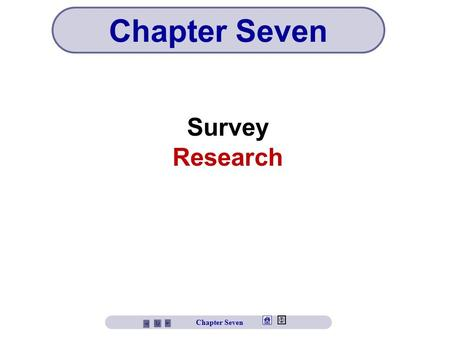 Survey Research Chapter Seven. Chapter Seven Objectives Understand the reasons for the popularity of survey research Learn about types of surveys Understand.