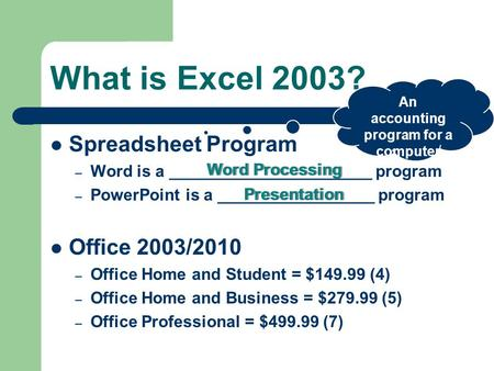 What is Excel 2003? Spreadsheet Program – Word is a ______________________ program – PowerPoint is a _________________ program Office 2003/2010 – Office.
