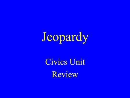 Jeopardy Civics Unit Review. LegislativeExecutive Judicial Who Am I?Potluck Branch Branch Branch 100100 100 100 100 100100 200200 200 200 200 200200 300300.