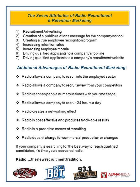 The Seven Attributes of Radio Recruitment & Retention Marketing 1)Recruitment Advertising 2)Creation of a public relations message for the company/school.