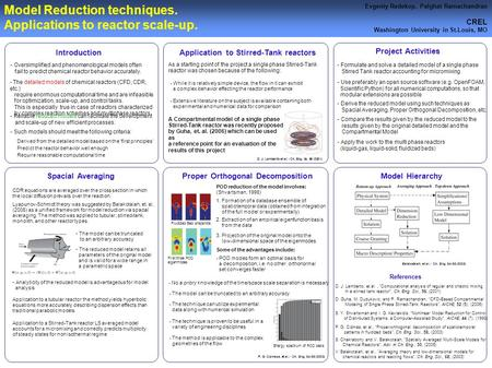 Model Reduction techniques. Applications to reactor scale-up. Evgeniy Redekop, Palghat Ramachandran CREL Washington University in St.Louis, MO Proper Orthogonal.