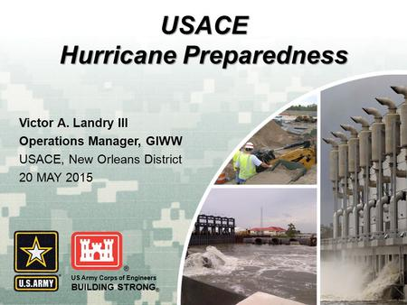 US Army Corps of Engineers BUILDING STRONG ® USACE Hurricane Preparedness Victor A. Landry III Operations Manager, GIWW USACE, New Orleans District 20.