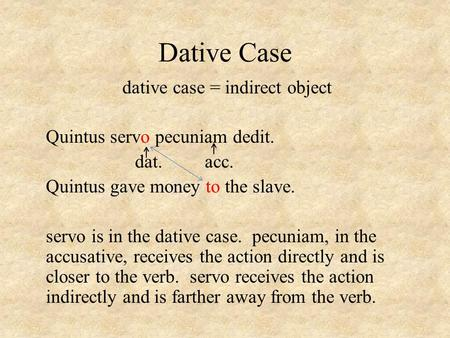 Dative Case dative case = indirect object Quintus servo pecuniam dedit. dat. acc. Quintus gave money to the slave. servo is in the dative case. pecuniam,