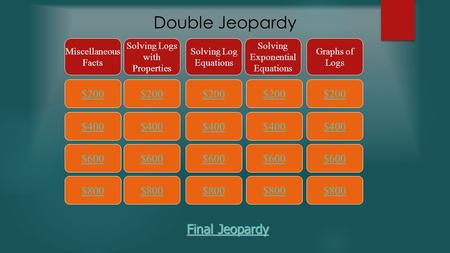 Double Jeopardy $200 Miscellaneous Facts Solving Logs with Properties Solving Log Equations Solving Exponential Equations Graphs of Logs $400 $600 $800.