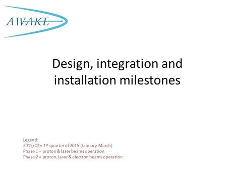 Design, integration and installation milestones Legend: 2015/Q1= 1 st quarter of 2015 (January-March) Phase 1 = proton & laser beams operation Phase 2.