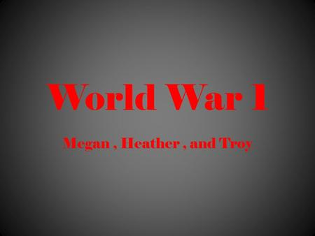 World War 1 Megan, Heather, and Troy. Weapons Poison gases Machine Guns Zeppelin Tank Planes Torpedoes Rifle.