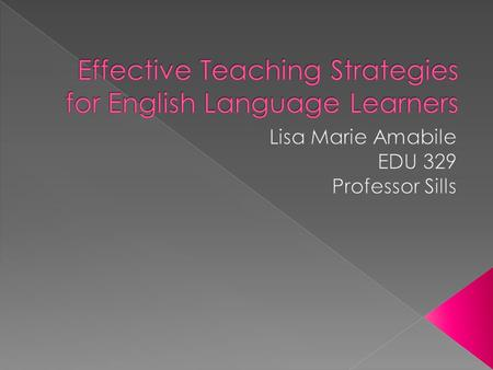  This article involved effective strategies for early childhood teachers to use with children who are English Language Learners.  10 teachers from two.