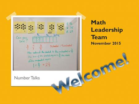 Math Leadership Team November 2015 Number Talks. Warm-up Mathematical Representations Field test comments Opportunity to field test Extensions ◦