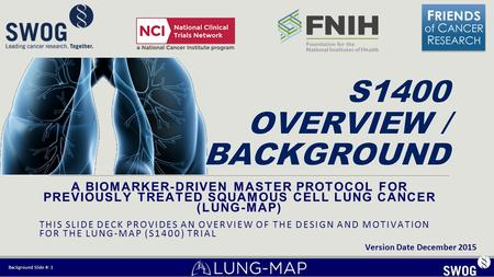 A BIOMARKER-DRIVEN MASTER PROTOCOL FOR PREVIOUSLY TREATED SQUAMOUS CELL LUNG CANCER (LUNG-MAP) THIS SLIDE DECK PROVIDES AN OVERVIEW OF THE DESIGN AND MOTIVATION.