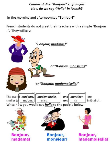 "Comment dire ""Bonjour"" en français How do we say ""Hello"" in French? In the morning and afternoon say ""Bonjour!"" French students do not greet their teachers."