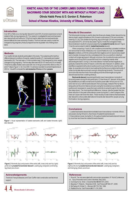 KINETIC ANALYSIS OF THE LOWER LIMBS DURING FORWARD AND BACKWARD STAIR DESCENT WITH AND WITHOUT A FRONT LOAD Olinda Habib Perez & D. Gordon E. Robertson.