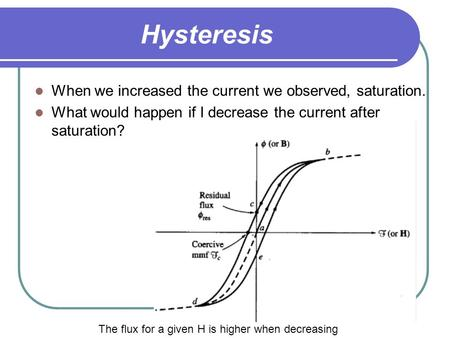 Hysteresis When we increased the <strong>current</strong> we observed, saturation. What would happen if I decrease the <strong>current</strong> after saturation? The flux for a given H.