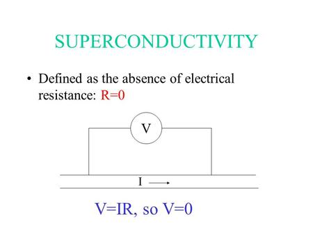 SUPERCONDUCTIVITY Defined as the absence of electrical resistance: R=0 V I V=IR, so V=0.