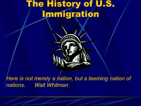 The History of U.S. Immigration Here is not merely a nation, but a teeming nation of nations.Walt Whitman.