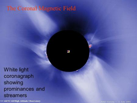 White light coronagraph showing prominances and streamers The Coronal Magnetic Field.