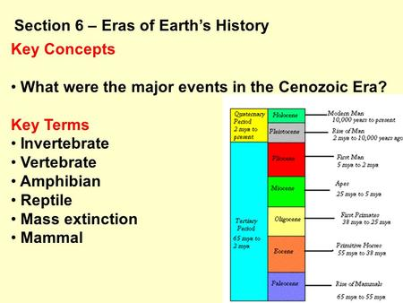 Key Concepts What were the major events in the Cenozoic Era? Key Terms Invertebrate Vertebrate Amphibian Reptile Mass extinction Mammal Section 6 – Eras.