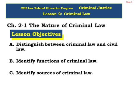 Slide 1 Ch. 2-1 The Nature of Criminal Law A.Distinguish between criminal law and civil law. B.Identify functions of criminal law. C.Identify sources of.