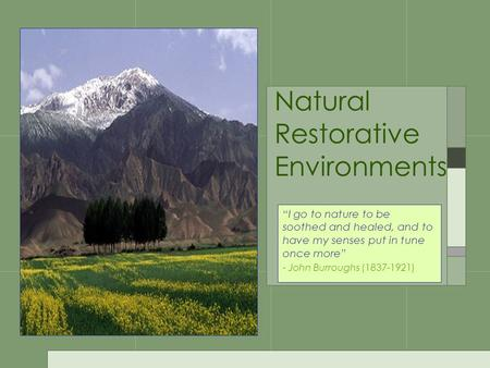 "Natural Restorative Environments ""I go to nature to be soothed and healed, and to have my senses put in tune once more"" - John Burroughs (1837-1921)"