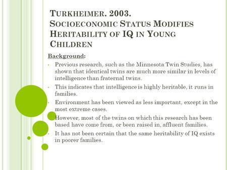 heritability and intelligence essay