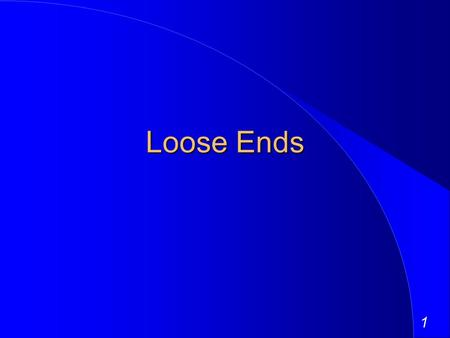 1 Loose Ends. 2 Closed End Funds You are investing in a closed end mutual fund that invests in stocks. Given the risk of the stocks it invests in and.