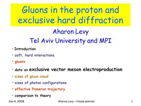Jan 4, 2008Aharon Levy - Hosza seminar1 Gluons in the proton and exclusive hard diffraction Aharon Levy Tel Aviv University and MPI Introduction soft,