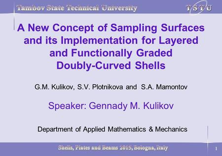 A New Concept of Sampling Surfaces and its Implementation for Layered and Functionally Graded Doubly-Curved Shells G.M. Kulikov, S.V. Plotnikova and.