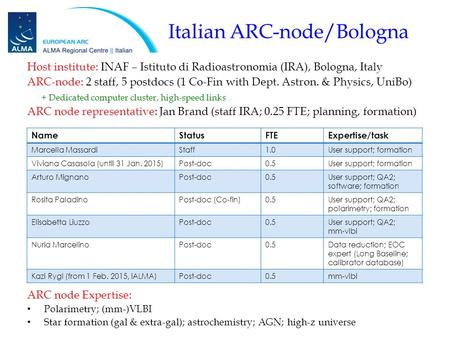 Italian ARC-node/Bologna Host institute: INAF – Istituto di Radioastronomia (IRA), Bologna, Italy ARC-node: 2 staff, 5 postdocs (1 Co-Fin with Dept. Astron.