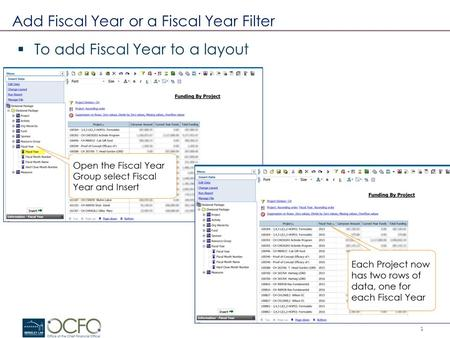 1 Add Fiscal Year or a Fiscal Year Filter  To add Fiscal Year to a layout.